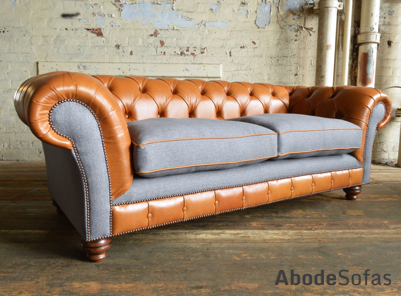 British Handmade Naunton Tan Leather And Naples Slate Velvet 3 Seater Sofa.  Fibre Cushion Seats