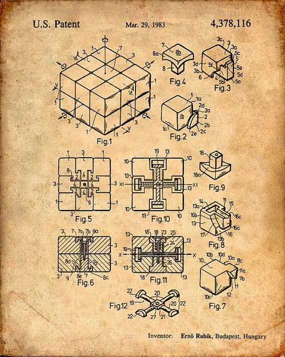 Rubiks Cube Patent Print Rubiks Cube Art Print Rubiks Cube