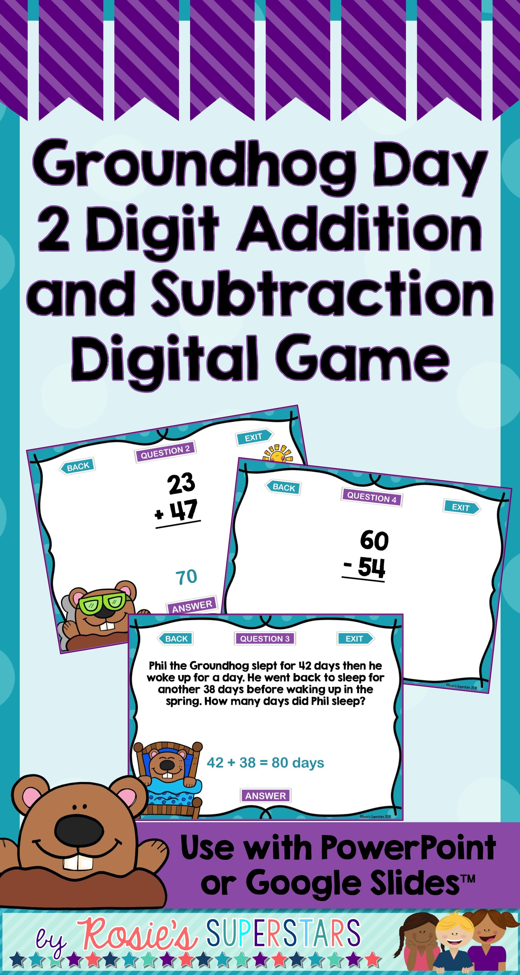 Groundhog Day 2 Digit Addition And Subtraction Digital