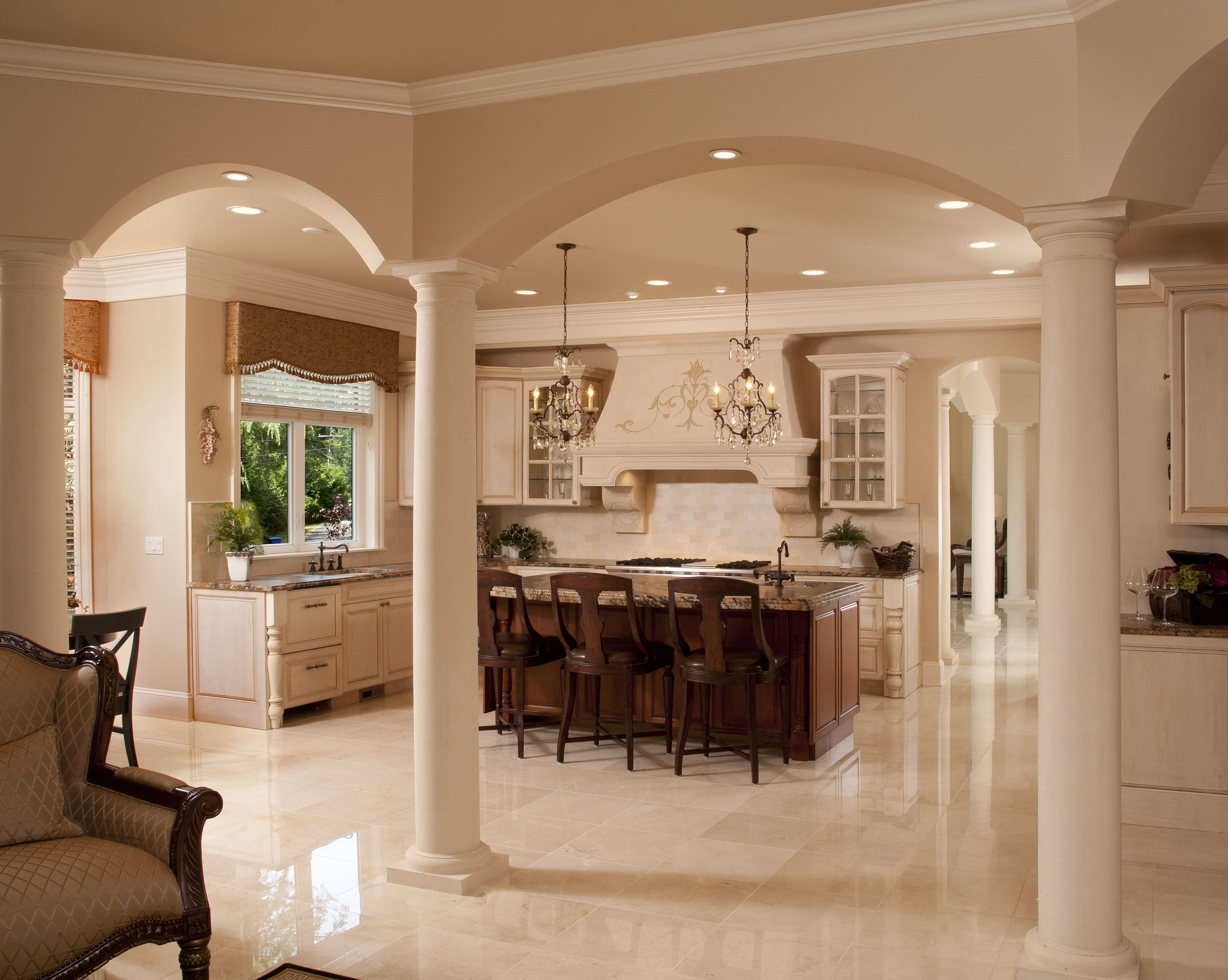 Luxury Kitchen Island Columns Archway