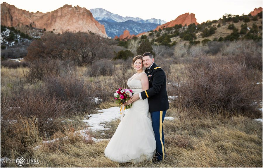 A beautiful wedding day portrait at Garden of the Gods