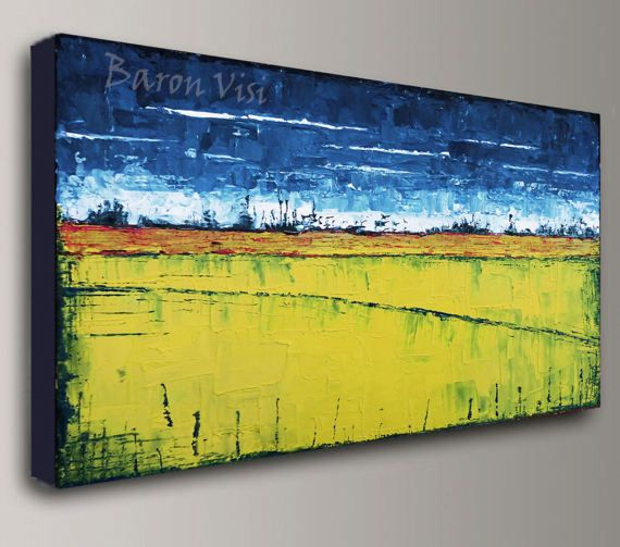abstract painting acrylic painting art painting blue yellow oil ...