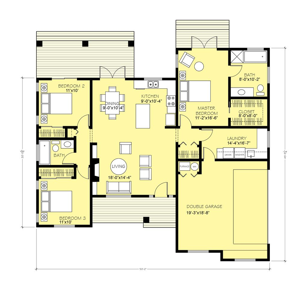 Ranch 3 Beds 2 Baths 1600 Sq Ft Plan 427 11 Main Floor