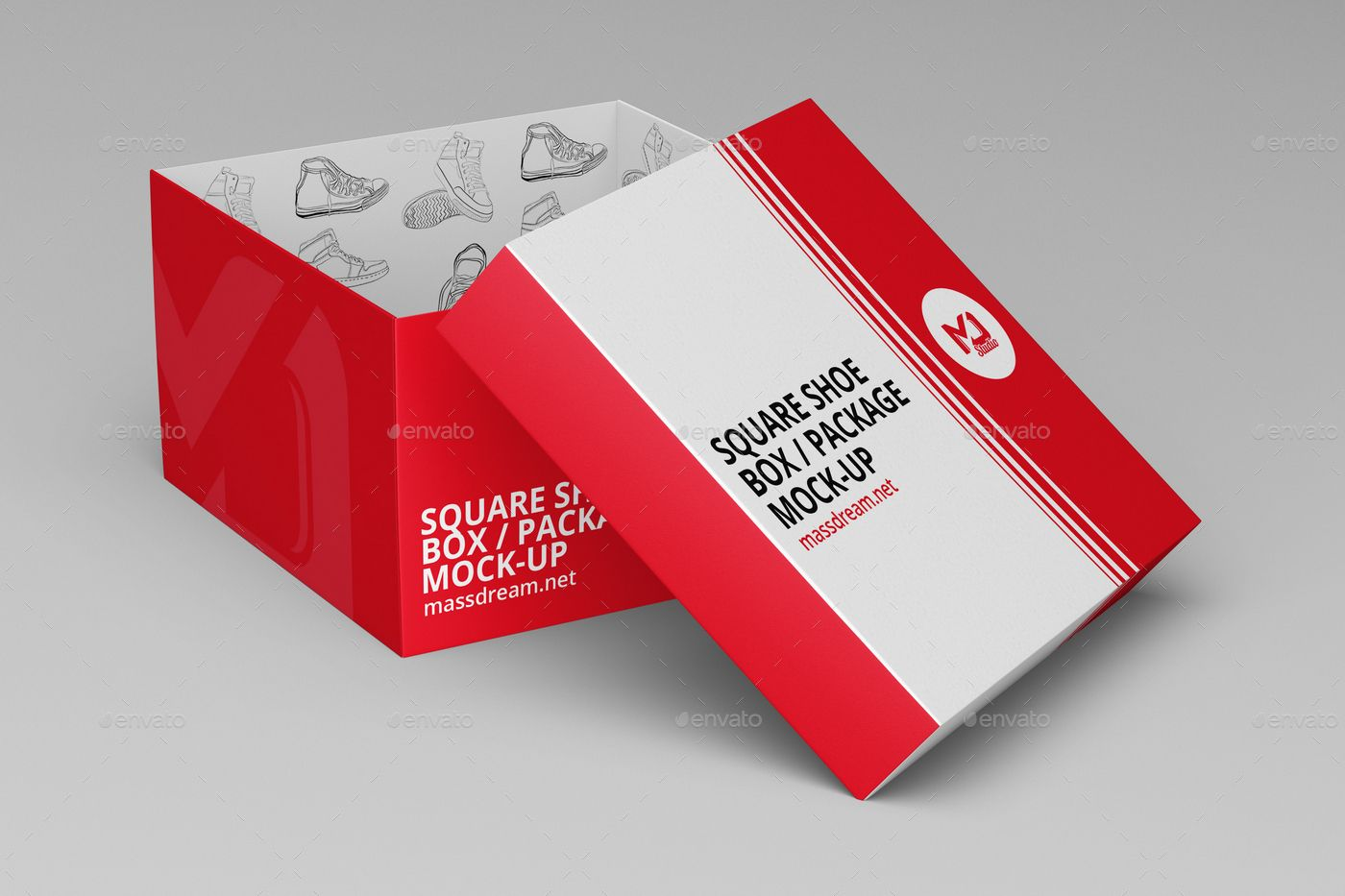 Download Square Shoe Box Package Mock Up Box Mockup Box Design Templates Packaging Mockup