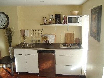 Brooklyn Apartment Rental Effeciency Kitchenette With 2 Burner Cooktop Sink And Undercounter Refrigerator