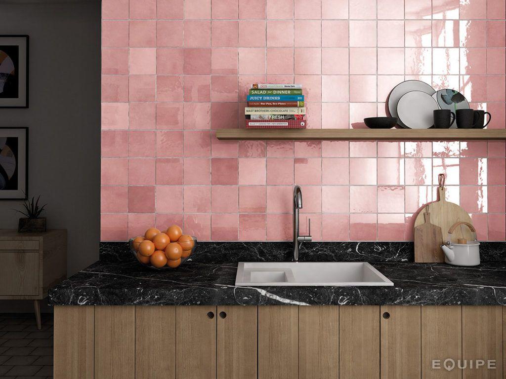 Artisan Rose Mallow 13x13 Fliesen küche wand, Rosa