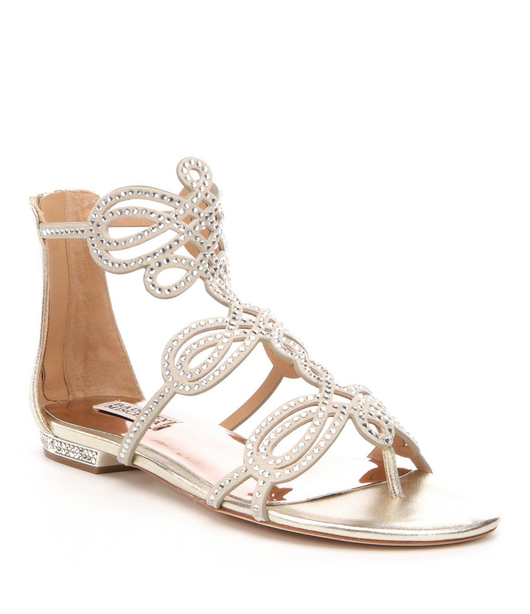 Badgley Mischka Tempe Jeweled Suede & Metallic Leather Flat Dress Sandals. Shoes  Women ...