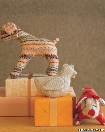 felted animals made from sweaters by aurelia