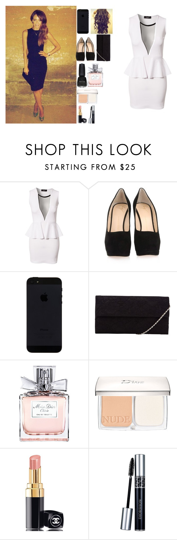 """""""Dinner with Danielle"""" by sarastyles-362 ❤ liked on Polyvore featuring Sisters Point, Nemesis, Giuseppe Zanotti, John Lewis, China Glaze, Christian Dior and Chanel"""