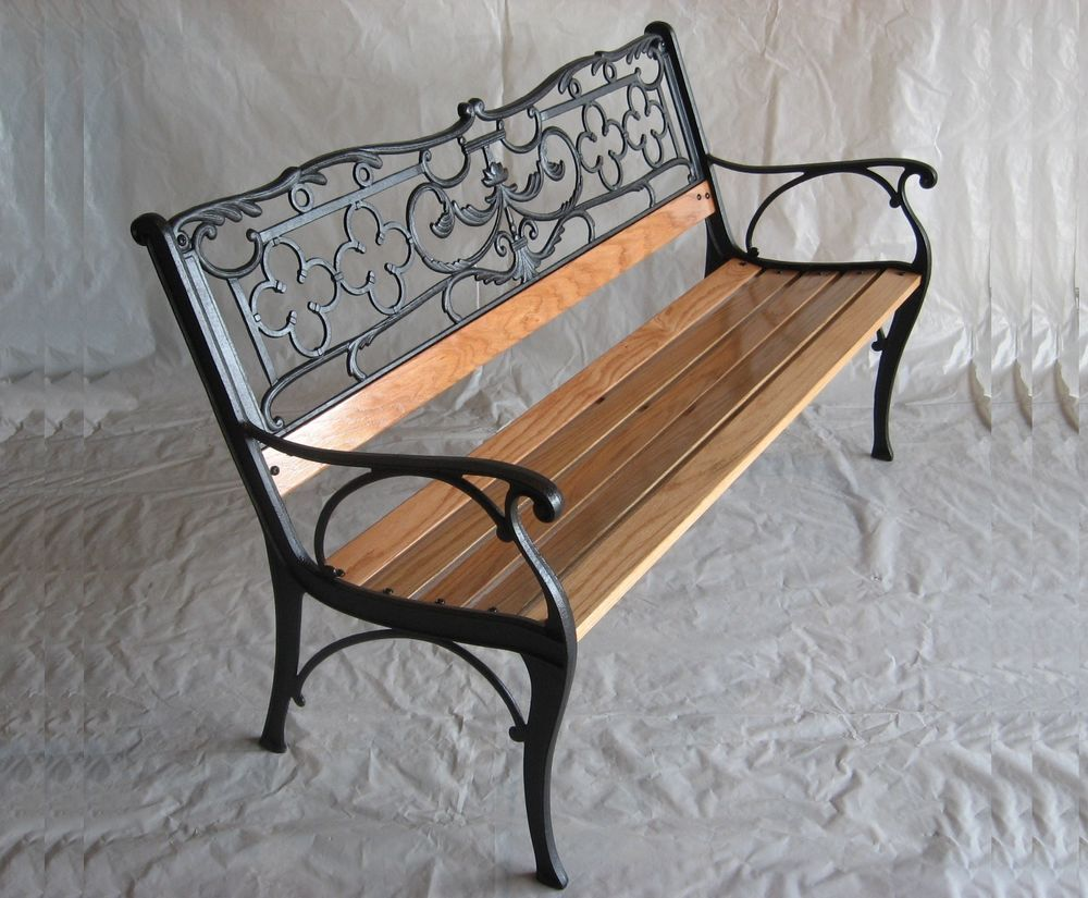 One 1 Midas Lin Model L7 Cast Iron Park Bench Refurbished With Solid Red Oak Seat Planks Which Are 3 X2f 4 Quot Thick X 2 1 X2 Indoor Seating Indoor Bench