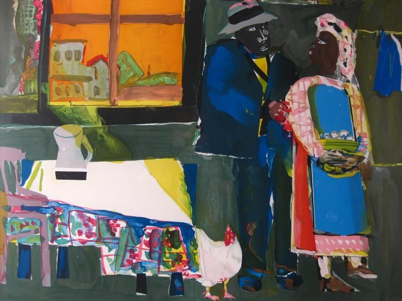 Romare Bearden, African American, 1911-1988, 'Autumn of the Rooster', Color Litho