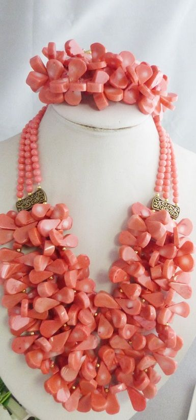 Beautiful Pink Coral Jewelry Set African Beads