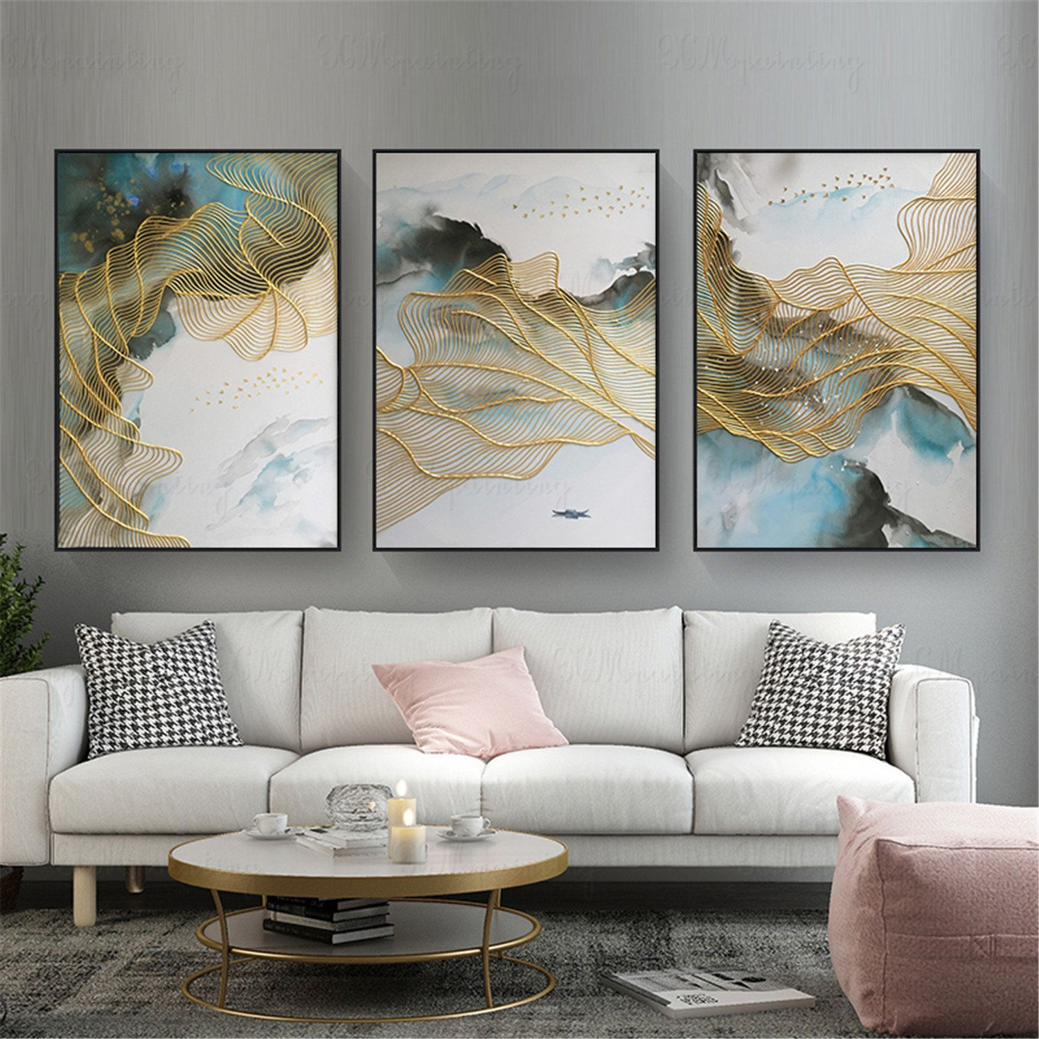 Framed 3 Pieces Gold Lines Abstract Painting Handmade Canvas Etsy Living Room Pictures Wall Decor Living Room Wall Decor Bedroom