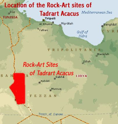 Map Showing The Location Of The RockArt Sites Of Tadrart Acacus - Sahara desert location