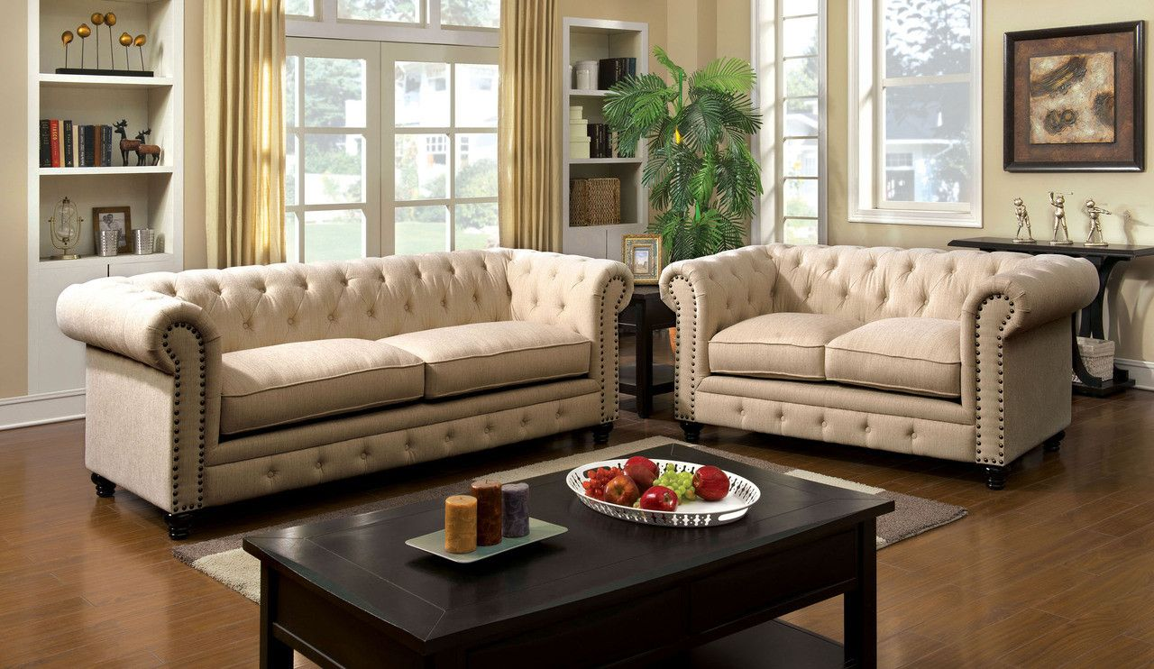 stanford sofa & love seat set cm6269iv | loveseats, bedrooms and house