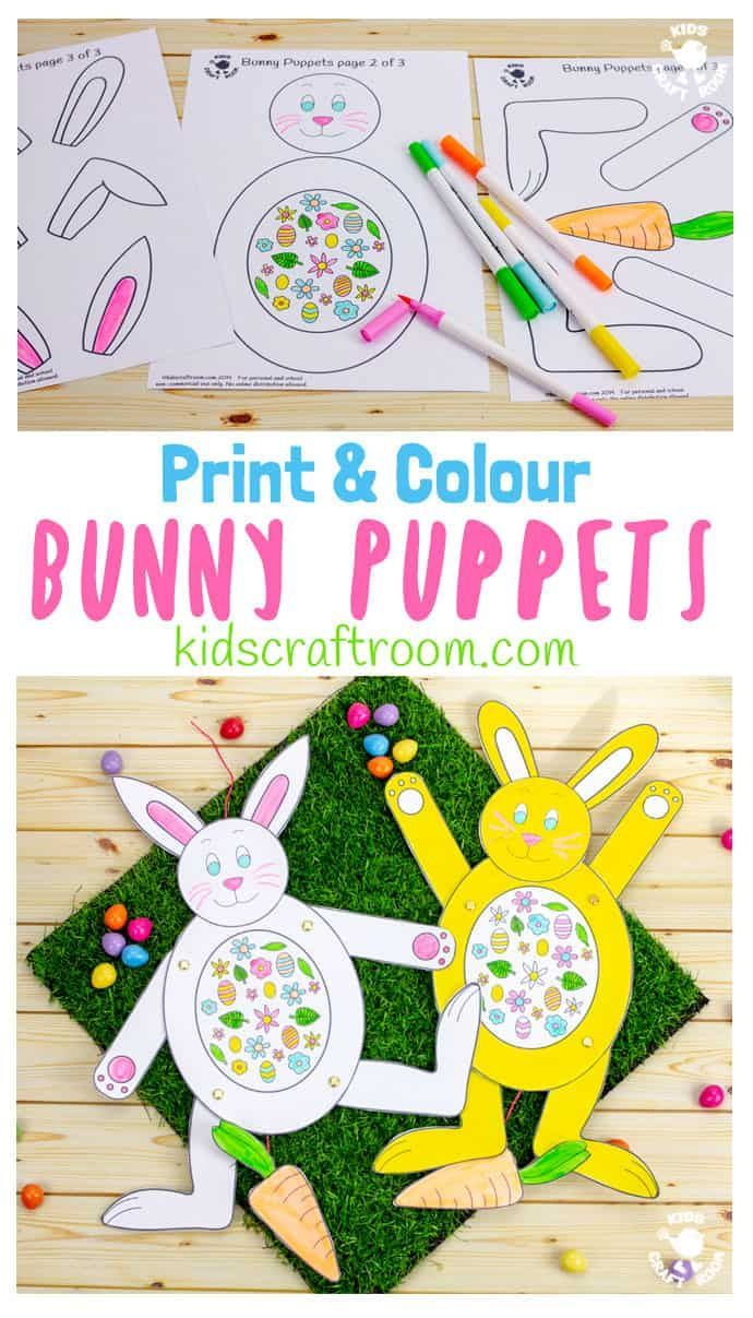 Print And Colour Bunny Puppets Creative Kids Activities