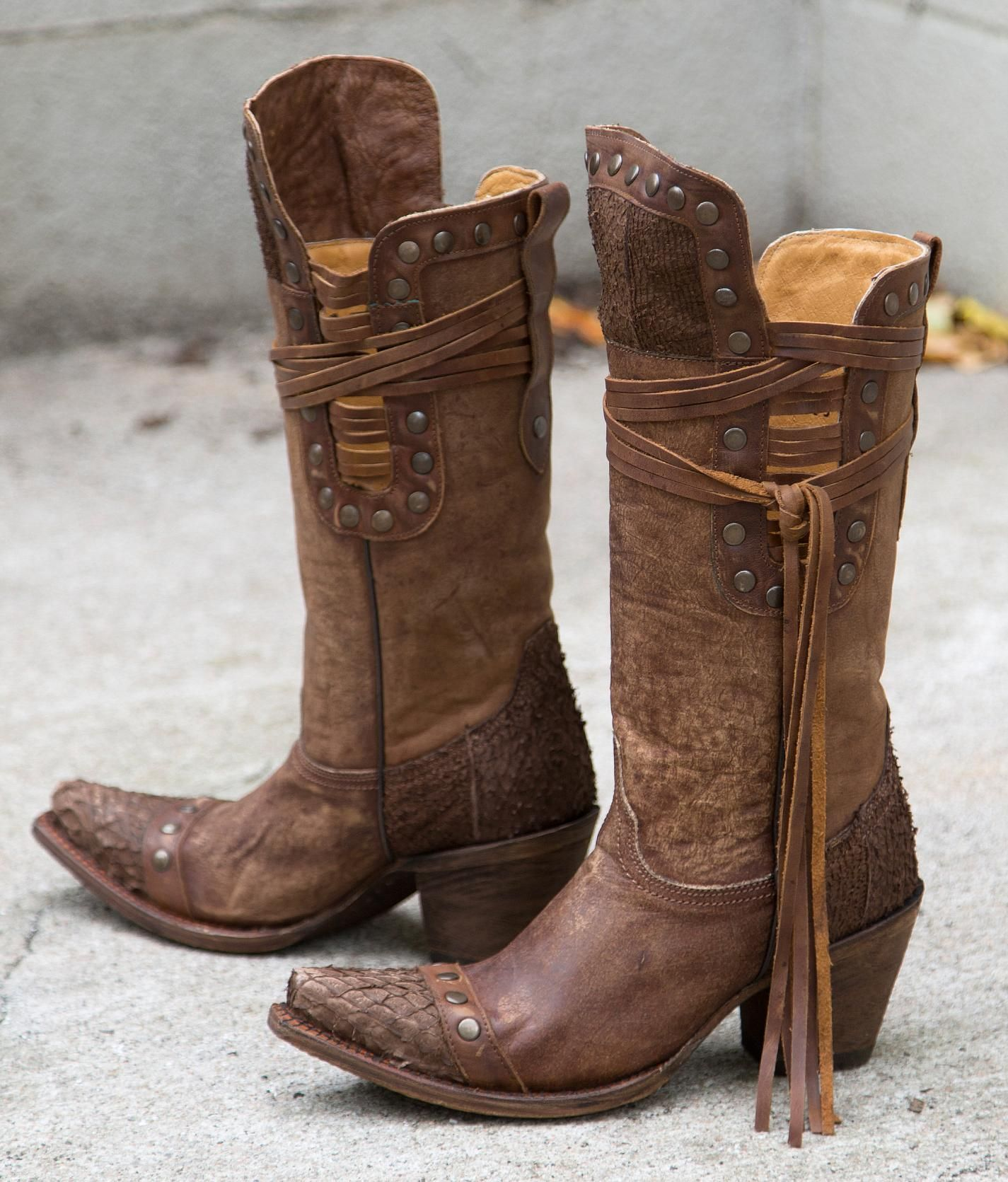 Corral Brown Fish Riding Boot Women S Shoes Buckle