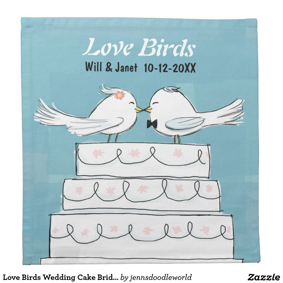 Love birds wedding cake bride u groom kiss napkin bird wedding