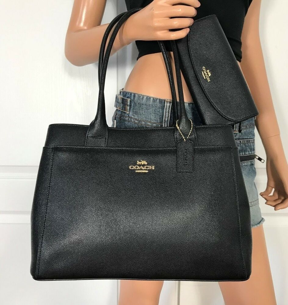 Coach Black Tote Bag Purse Handbag Authentic New Crossgrain Leather Wallet Purses And Handbags Tote Bag Purse Black Tote Bag
