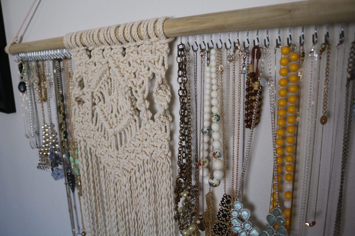 Macrame Jewelry Organizer Wall Hanging Reform Fibers Necklace Holder Jewelry Organizer Wall Jewelry Wall Diy Jewelry Holder