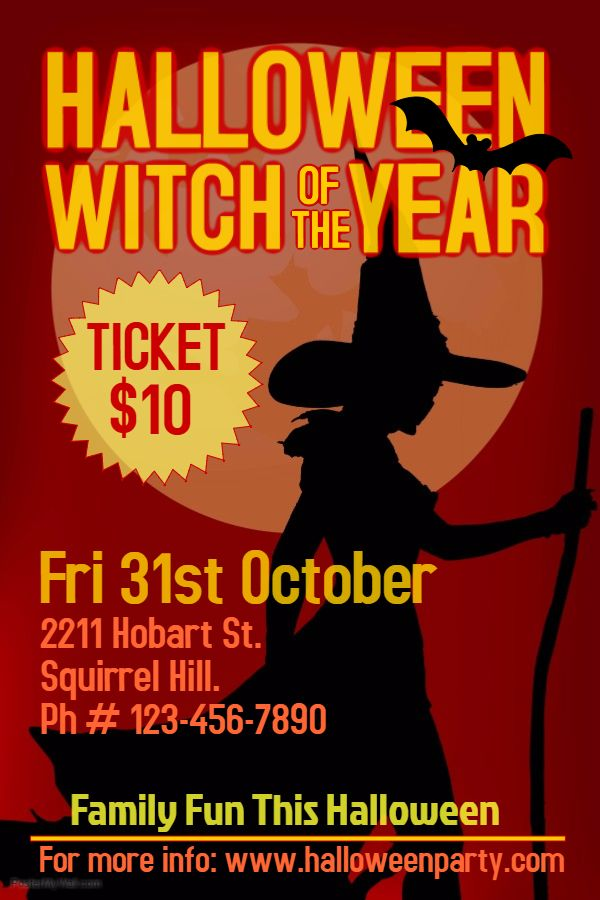 Halloween Witch Costume Party Flyer Template Halloween Party