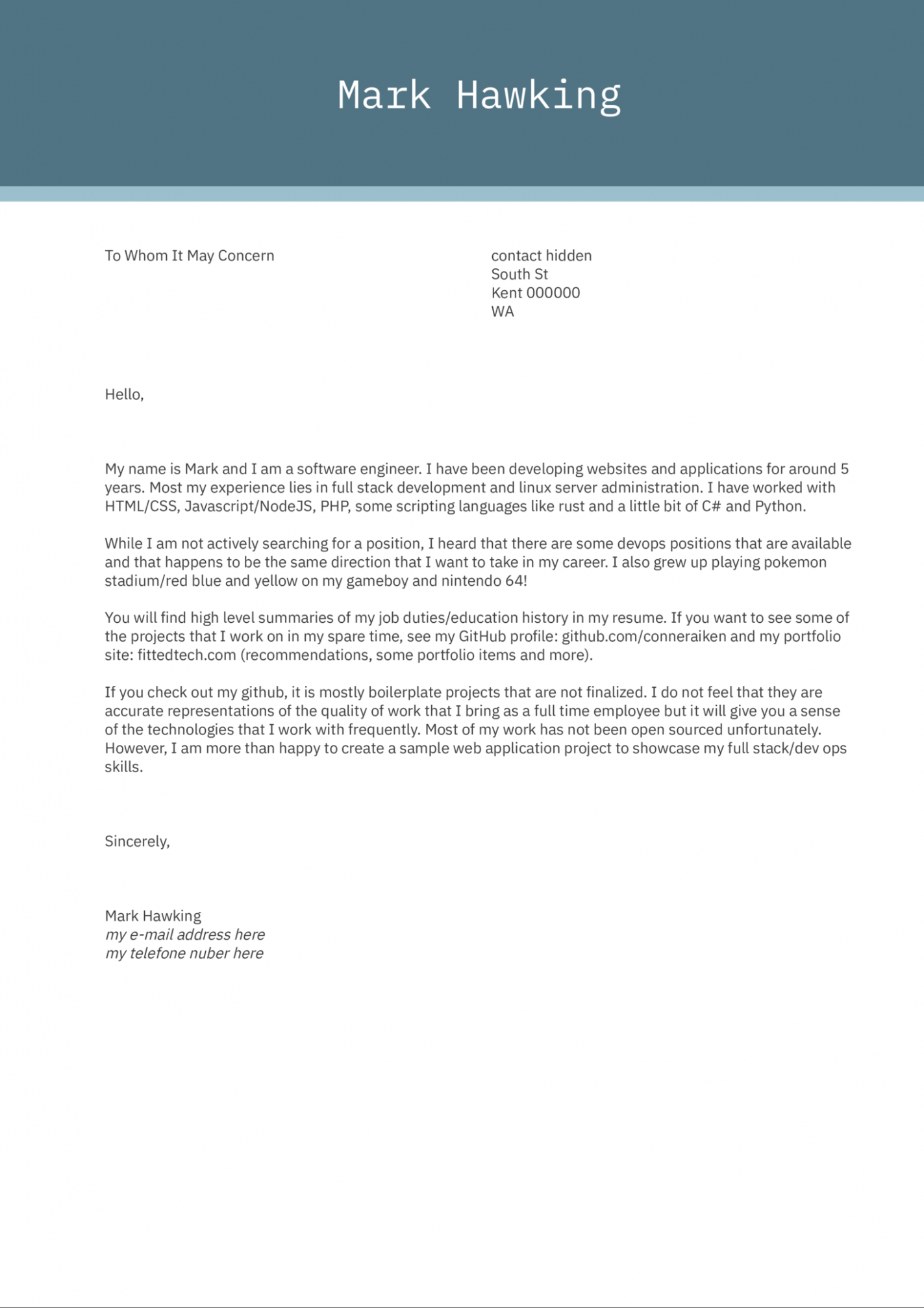 Cover Letter In Html Email In 2021 Cover Letter Cover Letter Sample Cover Letter Example