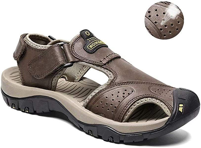 dc8ceca7e43db Amazon.com | visionreast Mens Leather Sandals Outdoor Hiking Sandals ...