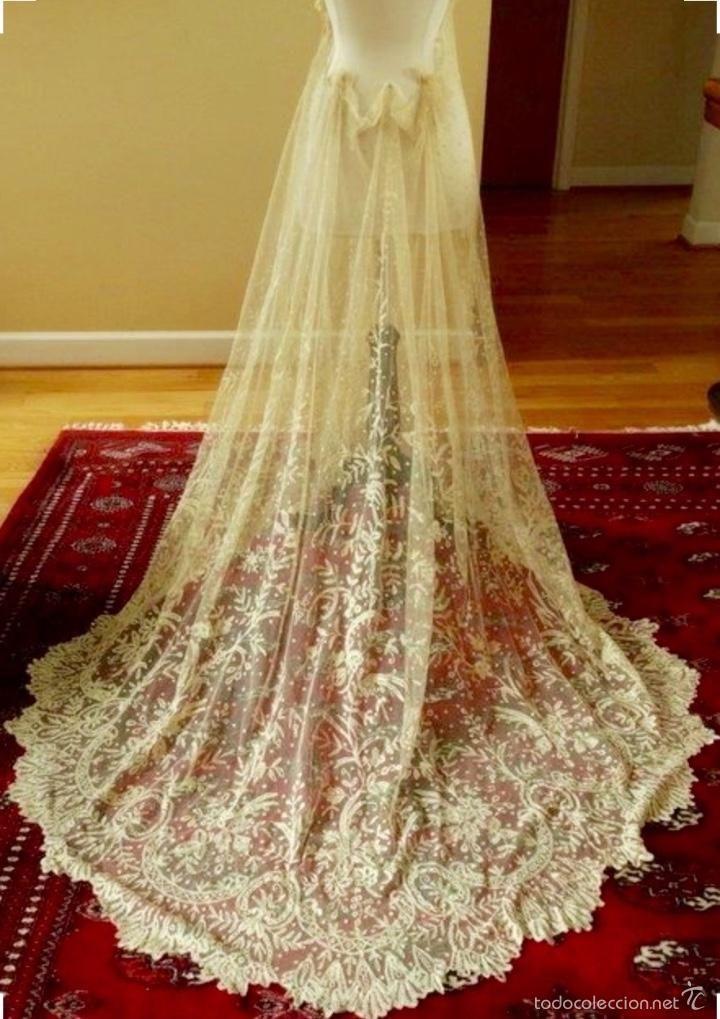 vestido/Falda antigua de novia en encaje de Bruselas de finales del ...