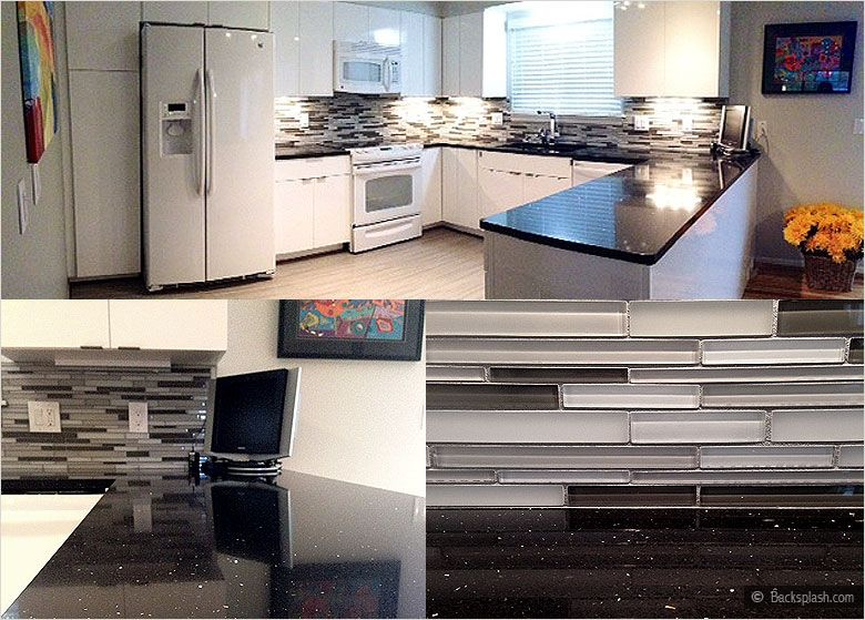 Glass Kitchen Backsplash White Cabinets white-kitchen-cabinets-black-galaxy-countertop-gray-glass-mosaic