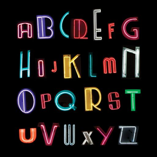 Custom Font Made From Photographs Of Miami Beach Area Neon