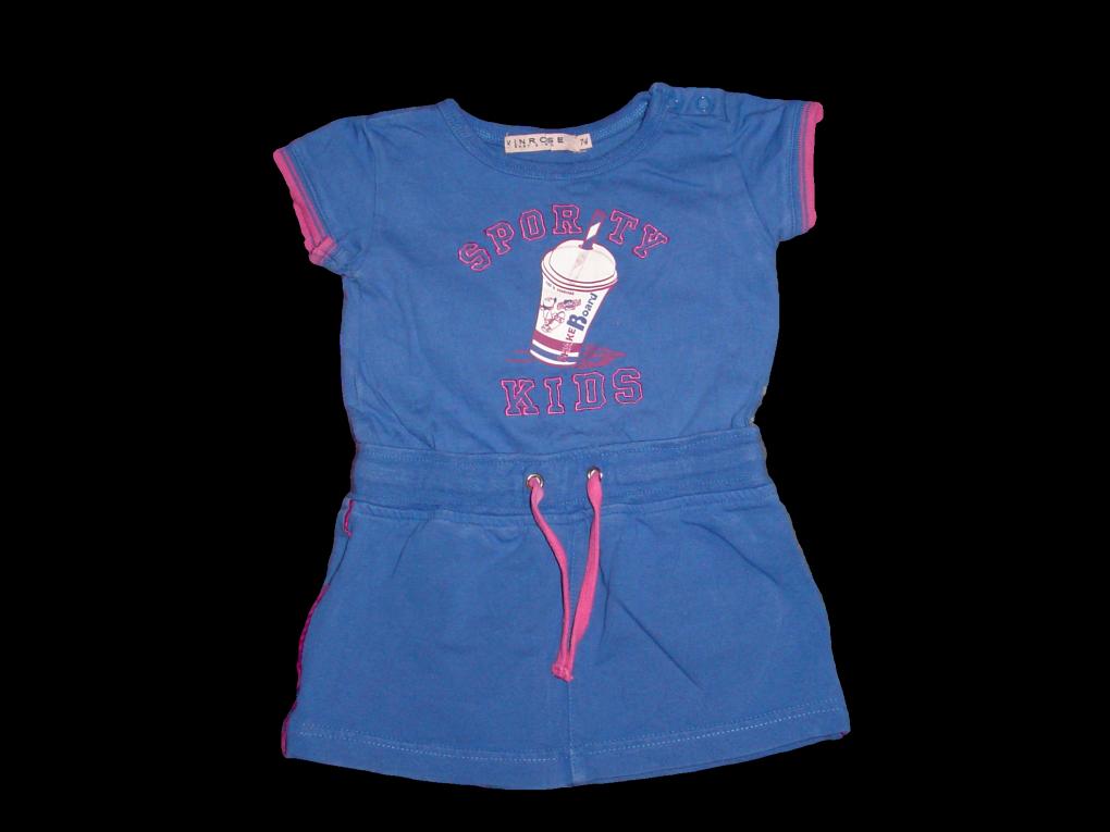 Kinderkleding Maat 74.Maat 74 Jurk Blauw Roze Met Opdruk Merk Vinrose Kinderkleding
