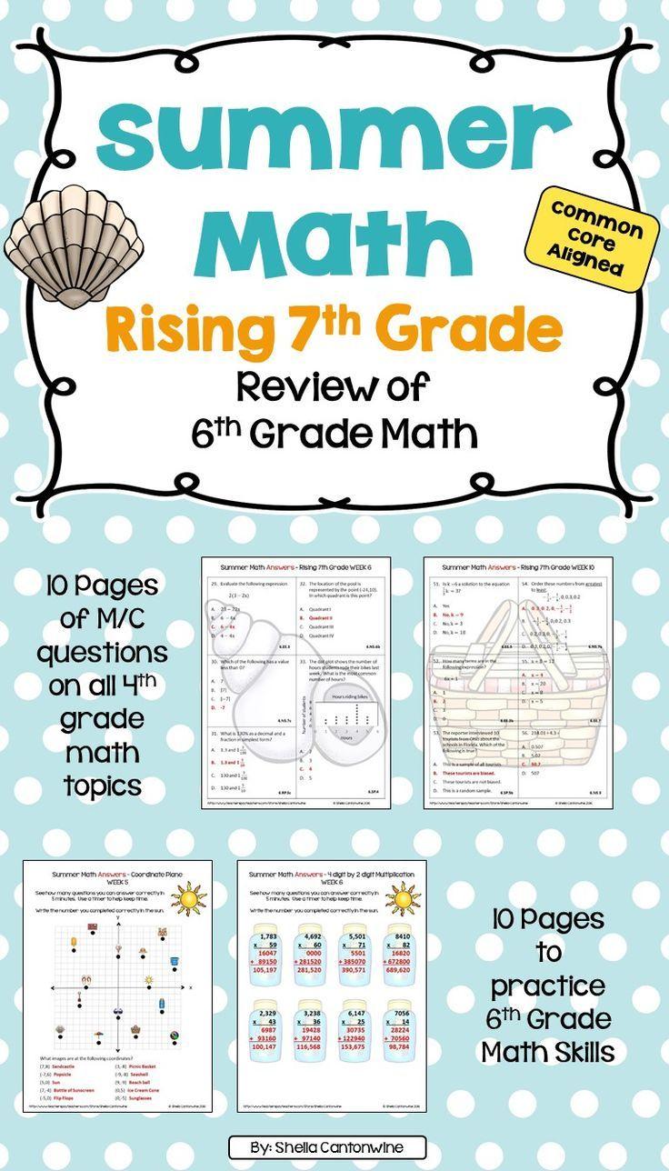 Summer Math Packet for Rising 7th Graders - Review of 6th Grade Math    Summer math [ 1288 x 736 Pixel ]