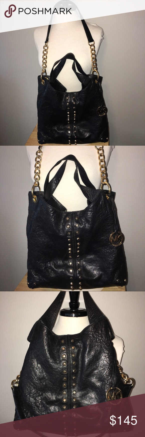 1c4acff88bd9 Gorgeous and Real Michael Kors Black Leather purse Gorgeous and Real Michael  Kors purse, code AP-1208, genuine black washed leather, gold hardware, ...