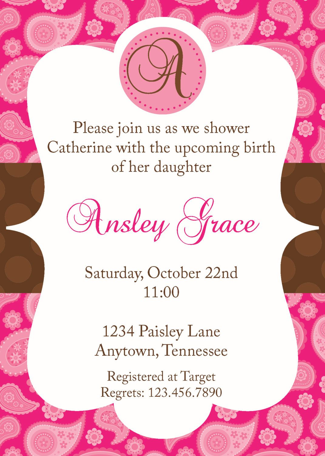 pink and brown paisley baby shower invitation. $10.00, vi… | Wedding ...