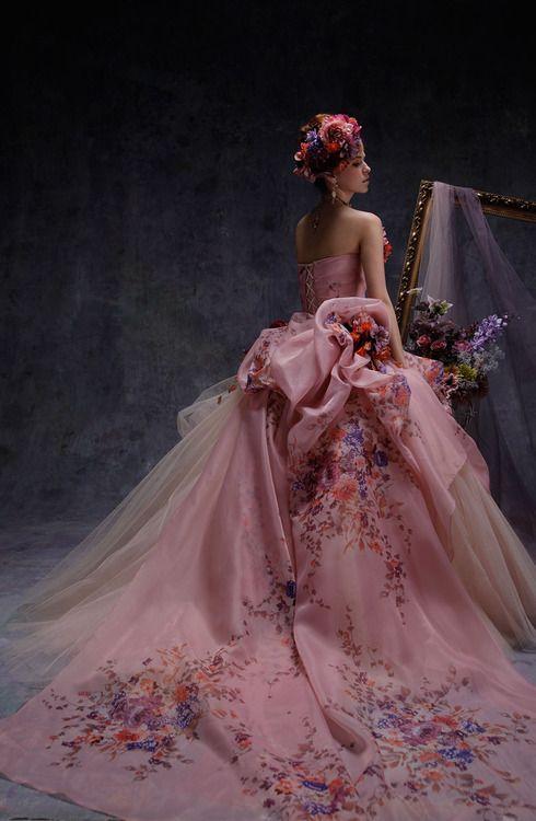 Wedding Dress Gowns Pink Flowers Floral Corset Flower Wreath