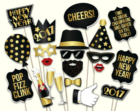 New Years Eve Photo Booth Props Printable Pdf File Diy New Years