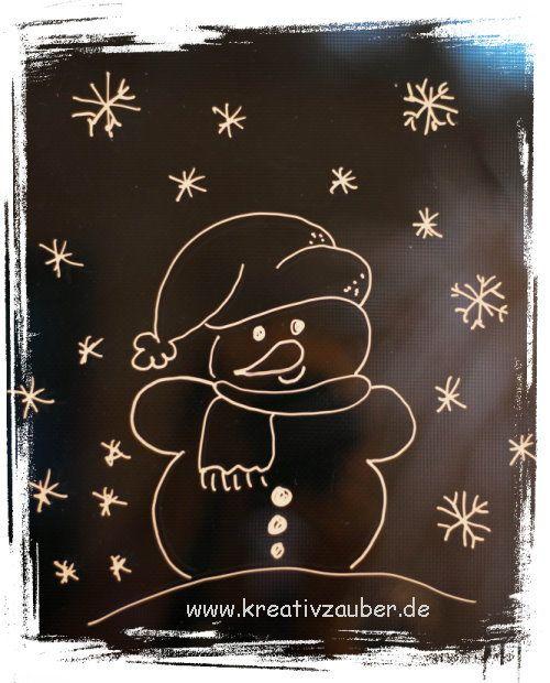 Winterfenster Schneemann   Fensterbilder weihnachten ...