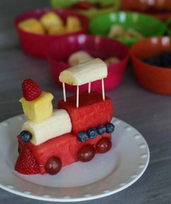 Train made of fruit! Serve 1/2 cup fruit to each 1-5 year old at snack; serve 3/4 cup fruit to each 6-12 year old at snack to meet CACFP serving sizes.