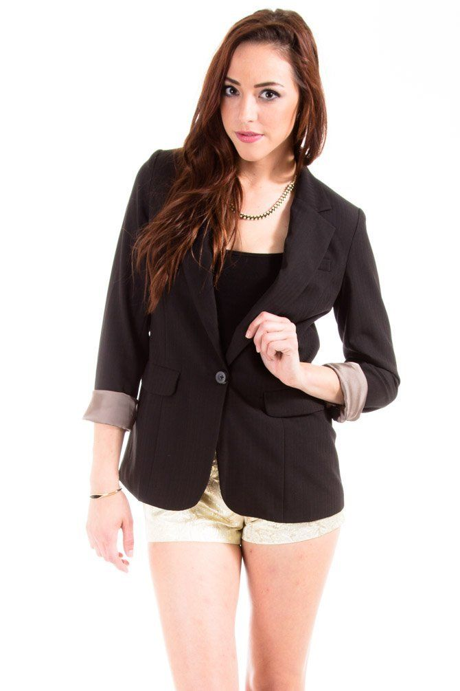 Solemio Fully Lined Business Blazer in Black : Outerwear