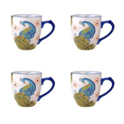 The Pioneer Woman Vintage Bloom 4 Piece 16 Ounce Coffee Cup Set, White