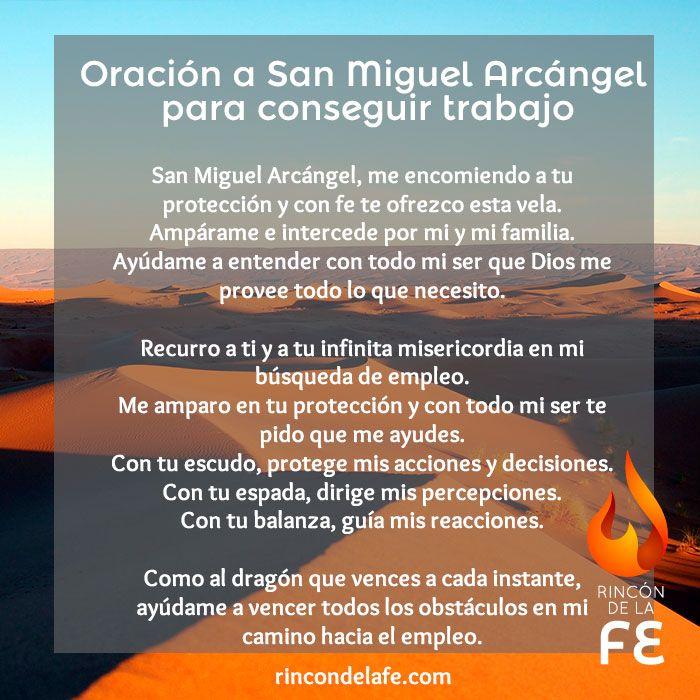 Oración A San Miguel Arcángel Para Conseguir Trabajo Oraciones Oraciones A Los Santos Oraciones Religiosas