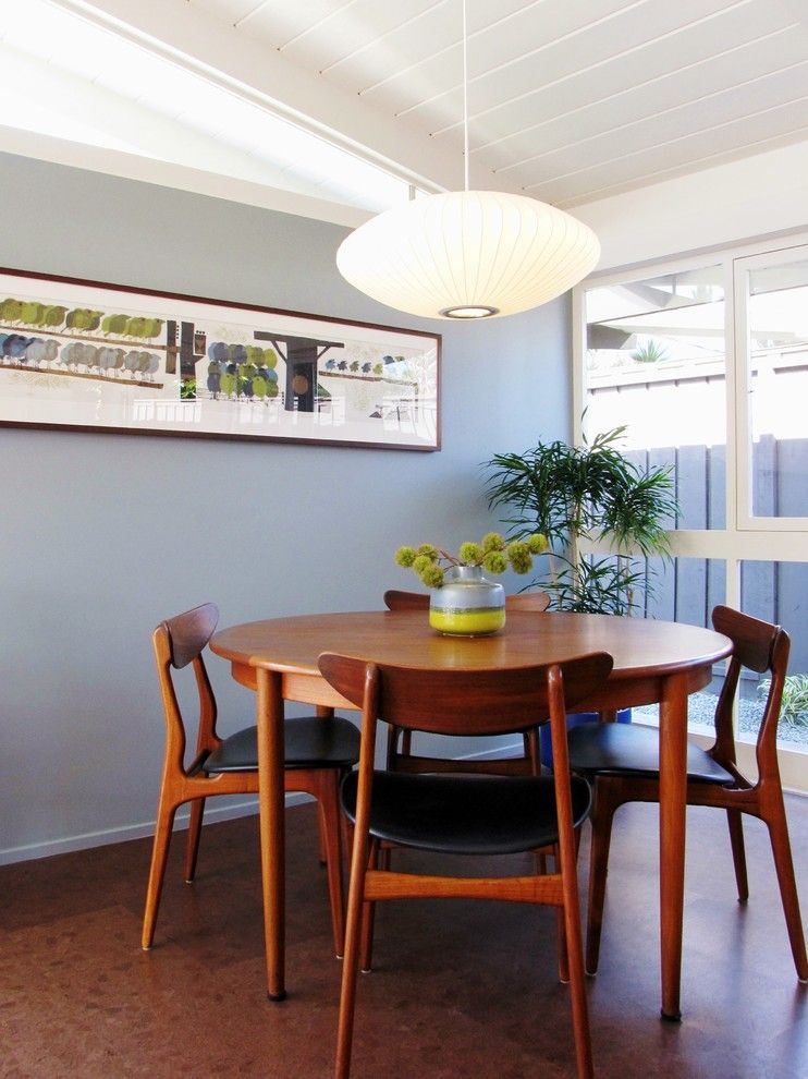 Midcentury Dining Set With Round Wooden Table And Wooden Chairs With Black  Leather Seating Of A