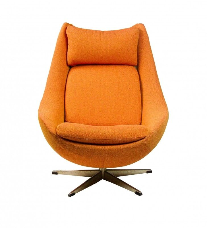 Mid Century Egg Lounge Chair W/ Orange Knoll Upholstery