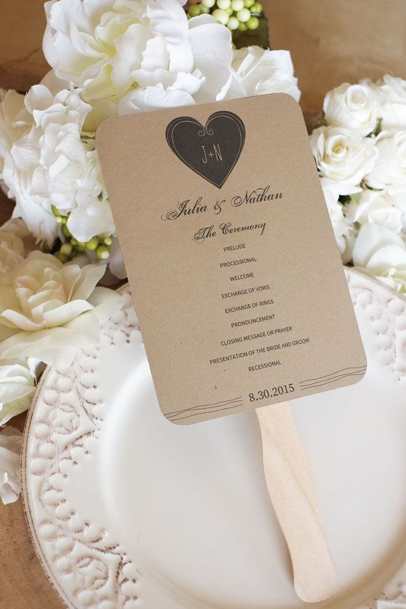 i like the simplicity of this rustic wedding fan program template