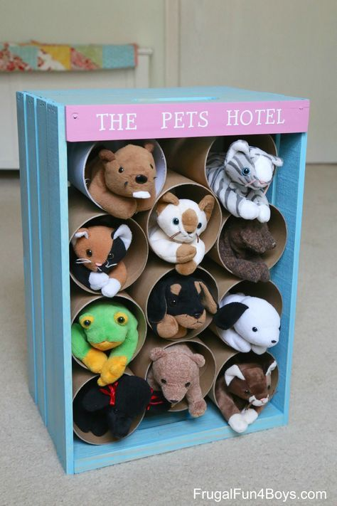 Wooden Crate Toy Storage - Turn a wooden crate into a pet hotel!  The compartments are also fun for pretend play.