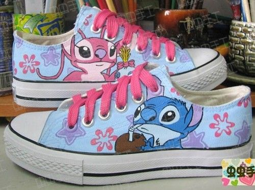 Lilo and Stitch HandPainted Women Girls Low to help Canvas Sneaker Shoes  XZ16