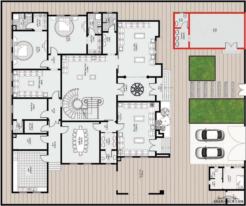 مخطط الفيلا رقم التصميم A 8 من مبادرة بيتى 1019 متر مربع 8 غرف نوم Square House Plans Two Story House Design Family House Plans
