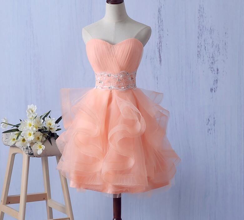 Ruffles Prom Dress, Organza Short Prom Gown, Lace | short dress ...