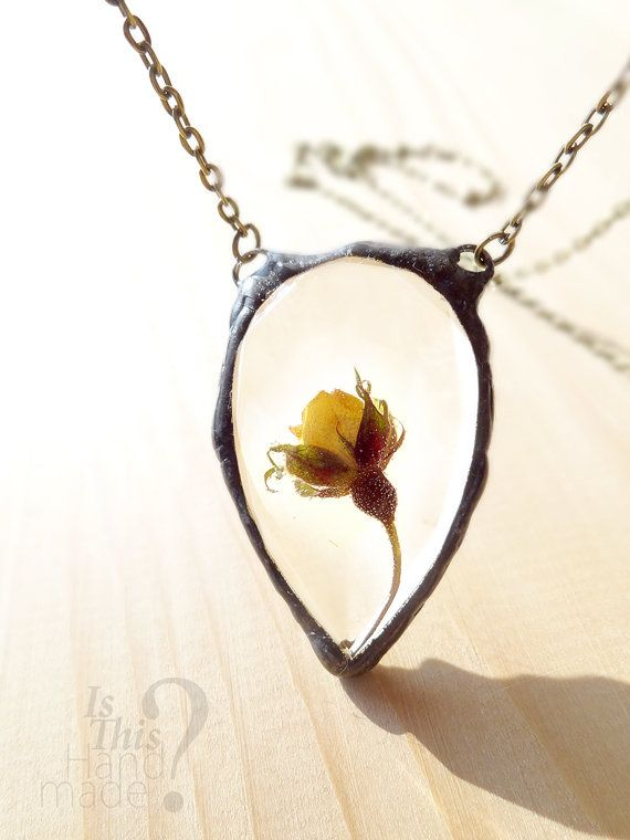 Real yellow rose necklace 3d rose teardrop jewel shaped resin real yellow rose necklace 3d rose teardrop by isthishandmade yellow rose resin mozeypictures Gallery
