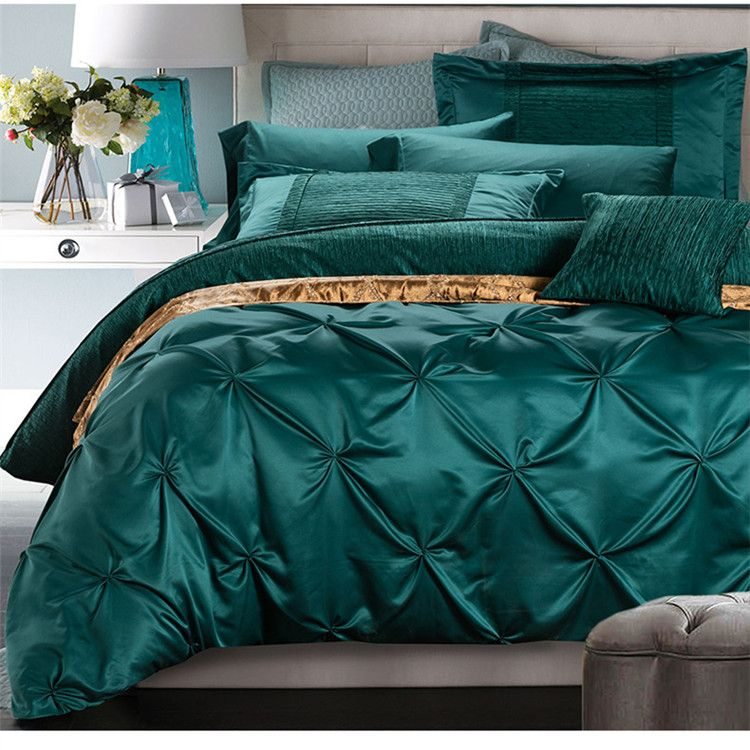 Pin By Tierra On Essence Collection Queen Bed Linen Green Bedding Set Silk Bedding Set